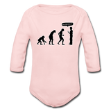 """Stop Following Me"" - Baby Long Sleeve One Piece light pink / 6 months - LabRatGifts - 3"
