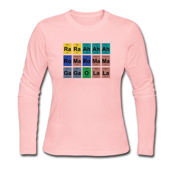 """Lady Gaga Periodic Table"" - Women's Long Sleeve T-Shirt light pink / S - LabRatGifts - 1"