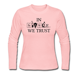 """In Science We Trust"" (black) - Women's Long Sleeve T-Shirt light pink / S - LabRatGifts - 3"