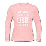 """Life is too Short"" (white) - Women's Long Sleeve T-Shirt light pink / S - LabRatGifts - 3"