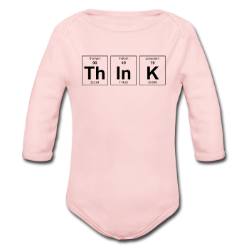 """ThInK"" (black) - Baby Long Sleeve One Piece light pink / 6 months - LabRatGifts - 1"