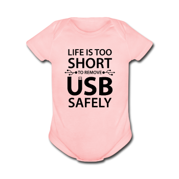 """Life is too Short"" (black) - Baby Short Sleeve One Piece light pink / Newborn - LabRatGifts - 1"