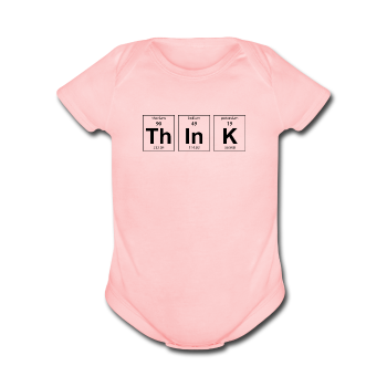 """ThInK"" (black) - Baby Short Sleeve One Piece light pink / Newborn - LabRatGifts - 1"