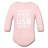 """Life is too Short"" (white) - Baby Long Sleeve One Piece light pink / 6 months - LabRatGifts - 2"