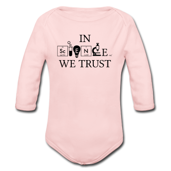 """In Science We Trust"" (black) - Baby Long Sleeve One Piece light pink / 6 months - LabRatGifts - 1"