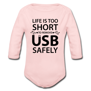 """Life is too Short"" (black) - Baby Long Sleeve One Piece light pink / 6 months - LabRatGifts - 1"