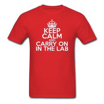 """Keep Calm and Carry On in the Lab"" (white) - Men's T-Shirt red / S - LabRatGifts - 1"