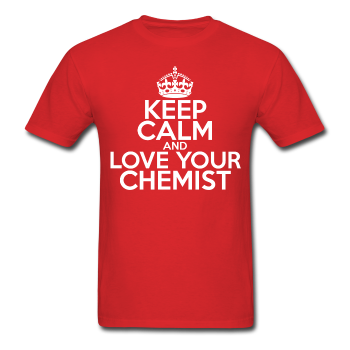 """Keep Calm and Love Your Chemist"" (white) - Men's T-Shirt red / S - LabRatGifts - 1"