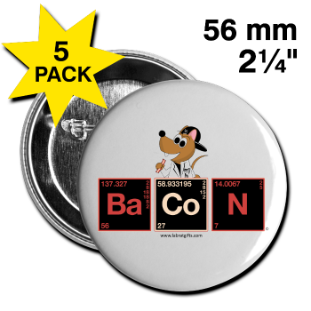 """Bacon Periodic Table"" - Large Buttons (5 pack) white / One size - LabRatGifts"