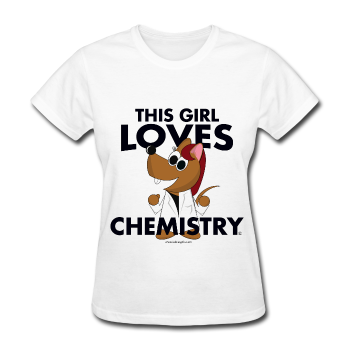 """This Girl Loves Chemistry"" (red) - Women's T-Shirt white / S - LabRatGifts - 1"