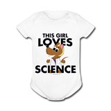 """This Girl Loves Science"" (blonde) - Baby Short Sleeve One Piece white / Newborn - LabRatGifts - 1"