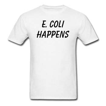 """E. Coli Happens"" (black) - Men's T-Shirt white / S - LabRatGifts - 1"