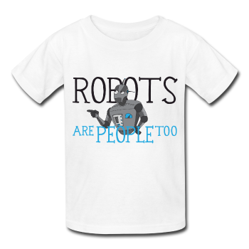 """Robots are People too"" - Kids T-Shirt white / XS - LabRatGifts - 1"