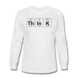"""ThInK"" (black) - Men's Long Sleeve T-Shirt white / S - LabRatGifts - 1"