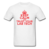 """Keep Calm and Trust Your Lab Tech"" (red) - Men's T-Shirt white / S - LabRatGifts - 1"