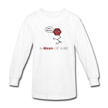 """A-Mean-Oh Acid"" - Kids' Long Sleeve T-Shirt white / XS - LabRatGifts - 1"