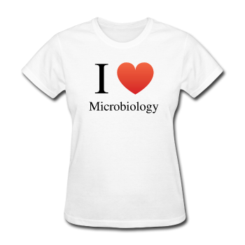 """I ♥ Microbiology"" (black) - Women's T-Shirt white / S - LabRatGifts - 1"