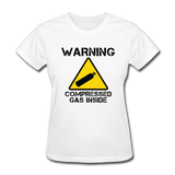 """Warning Compressed Gas Inside"" - Women's T-Shirt white / S - LabRatGifts - 1"