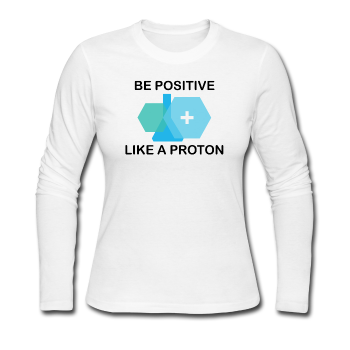 """Be Positive"" (black) - Women's Long Sleeve T-Shirt white / S - LabRatGifts - 1"
