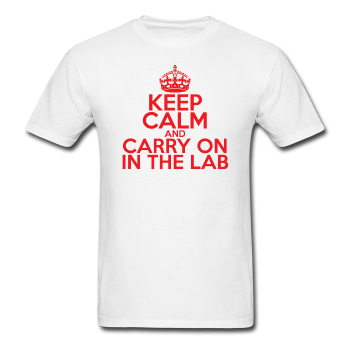 """Keep Calm and Carry On in the Lab"" (red) - Men's T-Shirt white / S - LabRatGifts - 1"