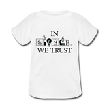 """In Science We Trust"" (black) - Baby Lap Shoulder T-Shirt white / Newborn - LabRatGifts - 4"