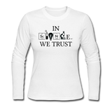 """In Science We Trust"" (black) - Women's Long Sleeve T-Shirt white / S - LabRatGifts - 1"