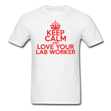 """Keep Calm and Love Your Lab Worker"" (red) - Men's T-Shirt white / S - LabRatGifts - 1"