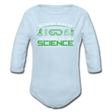 """Stand Back"" - Baby Long Sleeve One Piece powder blue / 6 months - LabRatGifts - 3"