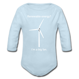 """I'm a Big Fan"" - Baby Long Sleeve One Piece powder blue / 6 months - LabRatGifts - 2"