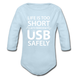 """Life is too Short"" (white) - Baby Long Sleeve One Piece powder blue / 6 months - LabRatGifts - 3"