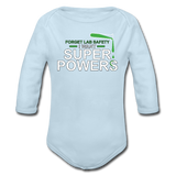 """Forget Lab Safety"" - Baby Long Sleeve One Piece powder blue / 6 months - LabRatGifts - 4"