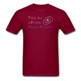 """Think like a Proton"" (white) - Men's T-Shirt burgundy / S - LabRatGifts - 3"