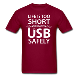 """Life is too Short"" (white) - Men's T-Shirt burgundy / S - LabRatGifts - 4"