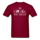 """In Science We Trust"" (white) - Men's T-Shirt burgundy / S - LabRatGifts - 3"
