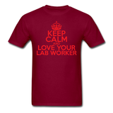 """Keep Calm and Love Your Lab Worker"" (red) - Men's T-Shirt burgundy / S - LabRatGifts - 10"
