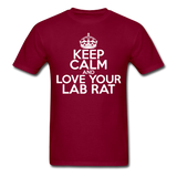 """Keep Calm and Love Your Lab Rat"" (white) - Men's T-Shirt burgundy / S - LabRatGifts - 6"