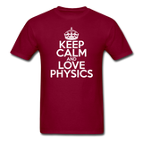 """Keep Calm and Love Physics"" (white) - Men's T-Shirt burgundy / S - LabRatGifts - 6"