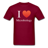 """I ♥ Microbiology"" (white) - Men's T-Shirt burgundy / S - LabRatGifts - 3"