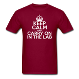 """Keep Calm and Carry On in the Lab"" (white) - Men's T-Shirt burgundy / S - LabRatGifts - 6"