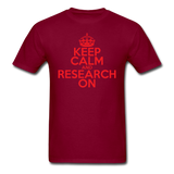 """Keep Calm and Research On"" (red) - Men's T-Shirt burgundy / S - LabRatGifts - 10"