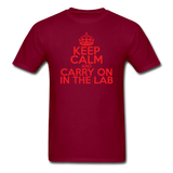 """Keep Calm and Carry On in the Lab"" (red) - Men's T-Shirt burgundy / S - LabRatGifts - 10"