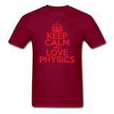 """Keep Calm and Love Physics"" (red) - Men's T-Shirt burgundy / S - LabRatGifts - 10"