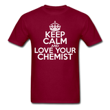 """Keep Calm and Love Your Chemist"" (white) - Men's T-Shirt burgundy / S - LabRatGifts - 6"
