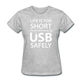 """Life is too Short"" (white) - Women's T-Shirt heather gray / S - LabRatGifts - 12"