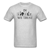 """In Science We Trust"" (black) - Men's T-Shirt heather gray / S - LabRatGifts - 3"
