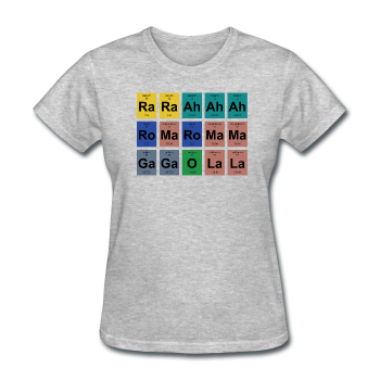 Lady gagas bad romance on periodic table womens t shirt lady gaga periodic table womens t shirt heather gray s urtaz Images