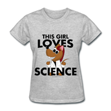 """This Girl Loves Science"" (red) - Women's T-Shirt heather gray / S - LabRatGifts - 2"