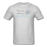 """Think like a Proton"" (black) - Men's T-Shirt heather gray / S - LabRatGifts - 3"
