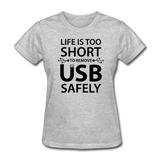 """Life is too Short"" (black) - Women's T-Shirt heather gray / S - LabRatGifts - 8"