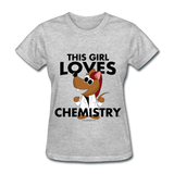 """This Girl Loves Chemistry"" (red) - Women's T-Shirt heather gray / S - LabRatGifts - 2"
